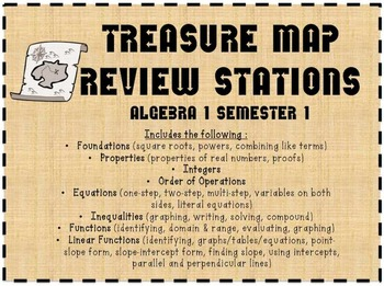 Treasure Map Stations (Algebra 1 Semester 1 Review) 40+ pages!