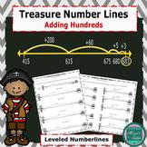 Treasure Number Lines -Adding Hundreds Leveled Number Lines