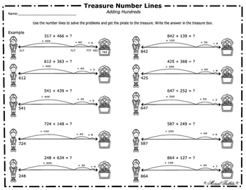 Treasure Number Lines -Adding Hundreds Leveled Number Lines