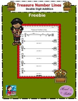 Treasure Number Line Double Digit Addition Freebie