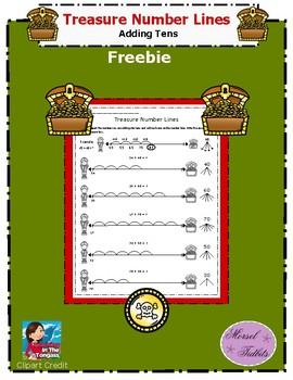 Treasure Number Lines- Adding Tens Freebie