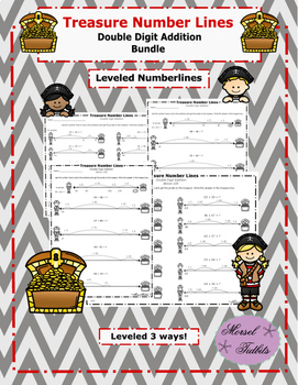 Treasure Number Lines- Double Digit Addition Bundle Plus An Extra!