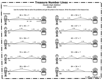 Treasure Number Lines- Double Digit Addition Above 100 Leveled Number Lines