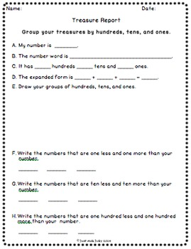 Place Value Activity Hundreds Tens and Ones Treasure Reports