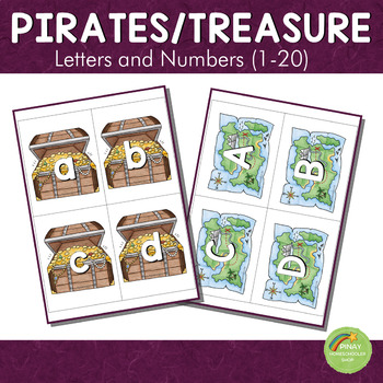 Treasure and Pirates Themed Letters and Number Cards