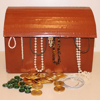 Treasure chest from cardboard box
