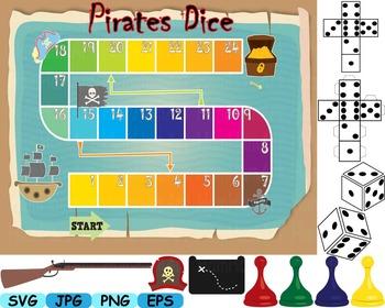 Treasure hunt board Pirates Dice science clip art Nautical