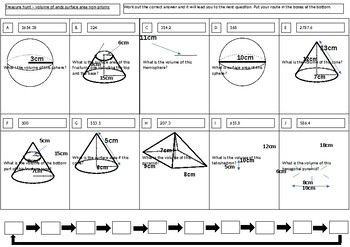 Treasure hunt volume and surface area of spheres, cones and pyramids