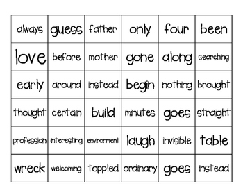 Treasure's Unit 6 Bingo