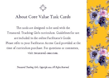 Treasured - Core Values Task Cards