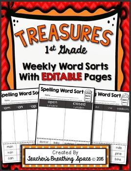 Treasures 1st Grade -- Treasures Spelling Weekly Word Sorts -- EDITABLE Pages