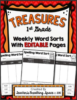 Treasures 1st Grade -- Treasures Spelling Weekly Word Sorts -- EDITABLE Pages