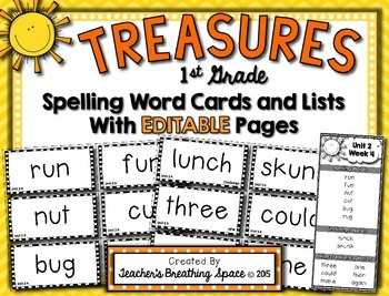Treasures 1st Grade -- Treasures Spelling Word Cards and Lists -- EDITABLE Pages
