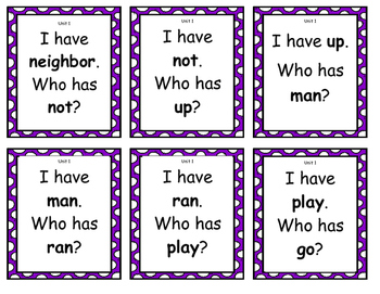 "Treasures 1st Grade Unit 1 High Frequency Word ""I Have/ Who Has"""