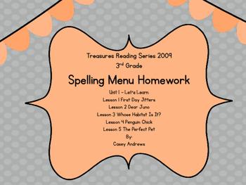 Treasures 2009 3rd Grade Spelling Menu Unit 1