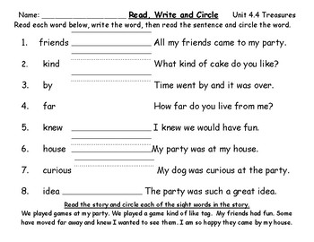 Treasures Sight Word Practice Read, Write and Find Unit 4 & 5