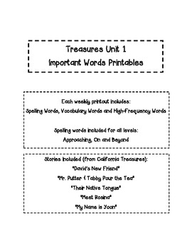 Treasures 2nd Gr. Unit 1 - Important Words - Spelling, Vocab & High Freq. Words