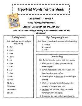 Treasures 2nd Gr. Unit 3 - Important Words - Spelling, Vocab & High Freq. Words