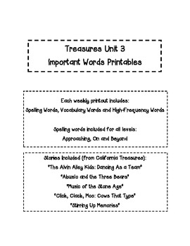 Treasures 2nd Gr. Unit 3 - Important Words - Spelling, Voc