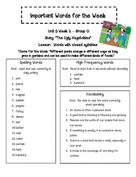 Treasures 2nd Gr. Unit 5 - Important Words - Spelling, Vocab & High Freq. Words