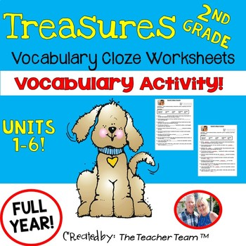 Treasures 2nd Grade Cloze - Fill in the Blank Worksheets Unit 1 - 6