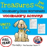 Treasures 2nd Grade Units 1 - 6 Cloze Fill in the Blank Worksheets Bundle