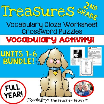 Treasures 2nd Grade Units 1 - 6 Cloze Worksheets and Crossword Puzzles Bundle