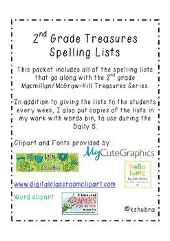 Treasures 2nd Grade Spelling Lists