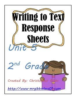 Treasures 2nd Grade Unit 5 Writing to Text Response Sheets