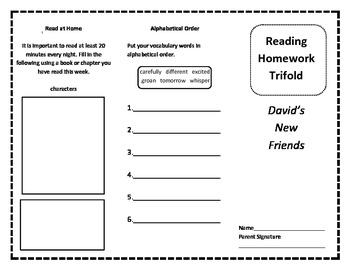 Treasures 2nd grade Unit 1 Lesson 1 Homework Trifold