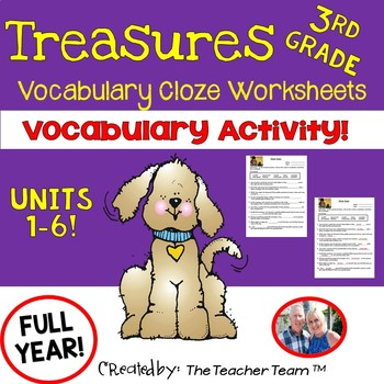 Treasures 3rd Grade Cloze - Fill in the Blank Worksheets Unit 1 - 6