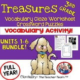 Treasures 3rd Grade Cloze Worksheets - Crossword Puzzles Bundle