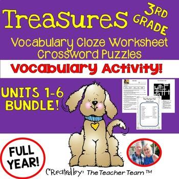 Treasures 3rd Grade Units 1 - 6 Cloze Worksheets - Crossword Puzzles Bundle