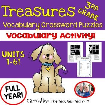 Treasures 3rd Grade Units 1 - 6 Crossword Puzzles Full Year