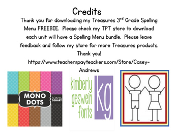 Treasures 3rd Grade Spelling Menu FREEBIE