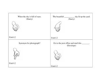 Treasures 3rd grade Dear Juno Vocabulary game Unit 1 Week 2 Rock Paper scissors