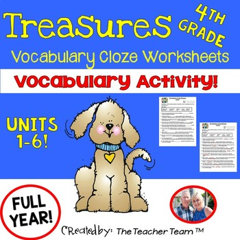 Treasures 4th Grade Cloze - Fill in the Blank Worksheets Unit 1 - 6