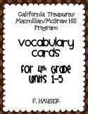 4th Grade Vocabulary Cards - TREASURES PROGRAM California Edition