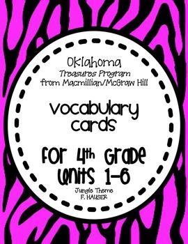 4th Grade Vocabulary Cards - TREASURES PROGRAM Oklahoma Edition