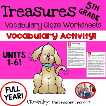 Treasures 5th Grade Cloze - Fill in the Blank Worksheets Unit 1 - 6