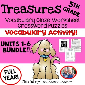 Treasures 5th Grade Units 1 - 6 Cloze Worksheets and Crossword Puzzles Bundle