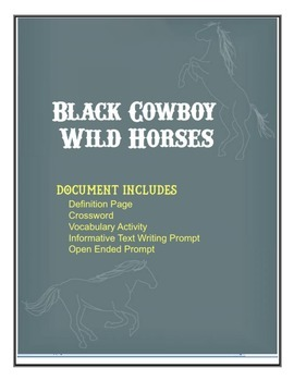 Black Cowboy: General Story and Vocabulary Sheets - Treasures 5th Grade U2 W5