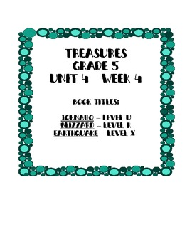 Treasures 5th grade, Unit 4, Week 4 - Small Group Book Activities - 3 books