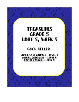 Treasures 5th grade, Unit 5, Week 3 - Small Group Book Activities - 3 books