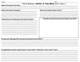 Treasures (California Edition) 3rd Grade Literature Response Sheets Units 1-6