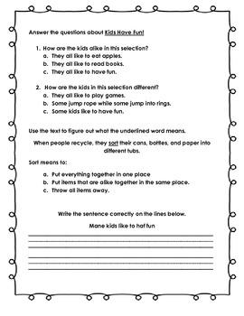Treasures Common Core Assessment: Kids Have Fun
