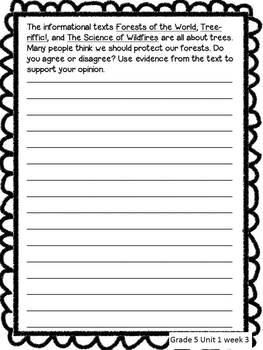 Treasures Common Core Text Based Writing Prompts BUNDLE, 5th Grade: All Units