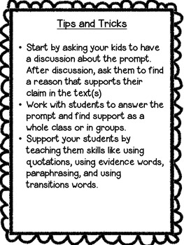 Treasures Common Core Text Based Writing Prompts, 5th Grade: Unit 3
