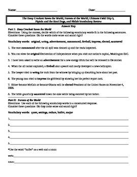 Treasures Fifth Grade Vocabulary Reviews 1-4