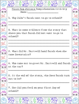 Treasures First Day Jitters Comprehension/Vocabulary Activity